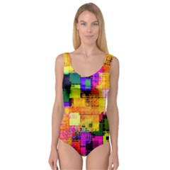 Abstract Squares Background Pattern Princess Tank Leotard
