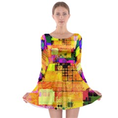 Abstract Squares Background Pattern Long Sleeve Skater Dress