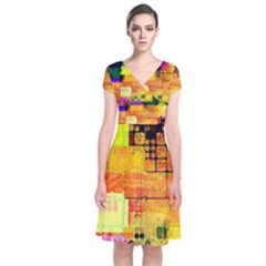 Abstract Squares Background Pattern Short Sleeve Front Wrap Dress