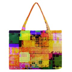 Abstract Squares Background Pattern Medium Zipper Tote Bag