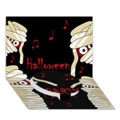 Halloween mummy party Circle Bottom 3D Greeting Card (7x5)