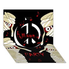 Halloween mummy party Peace Sign 3D Greeting Card (7x5)