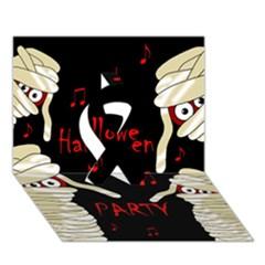 Halloween mummy party Ribbon 3D Greeting Card (7x5)