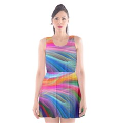 Rainbow Feather Scoop Neck Skater Dress