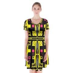 =p=p=yjyu]p Short Sleeve V Neck Flare Dress