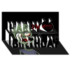 Halloween zombie Happy Birthday 3D Greeting Card (8x4)