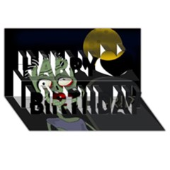 Halloween zombie on the cemetery Happy Birthday 3D Greeting Card (8x4)