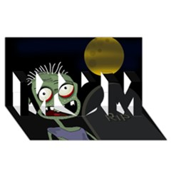 Halloween zombie on the cemetery MOM 3D Greeting Card (8x4)