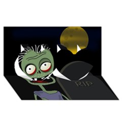 Halloween zombie on the cemetery Twin Hearts 3D Greeting Card (8x4)