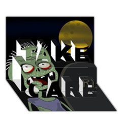 Halloween zombie on the cemetery TAKE CARE 3D Greeting Card (7x5)