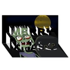 Halloween zombie on the cemetery Merry Xmas 3D Greeting Card (8x4)