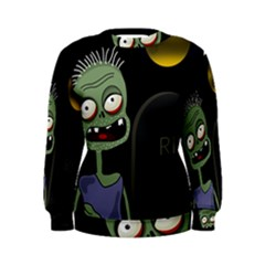 Halloween zombie on the cemetery Women s Sweatshirt