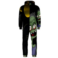 Halloween zombie on the cemetery Hooded Jumpsuit (Men)