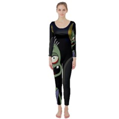 Halloween zombie on the cemetery Long Sleeve Catsuit