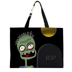 Halloween zombie on the cemetery Zipper Large Tote Bag