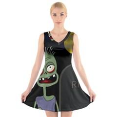 Halloween zombie on the cemetery V-Neck Sleeveless Skater Dress