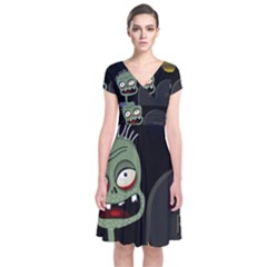 Halloween zombie on the cemetery Short Sleeve Front Wrap Dress