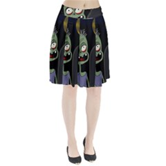 Halloween zombie on the cemetery Pleated Skirt