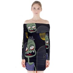 Halloween zombie on the cemetery Long Sleeve Off Shoulder Dress