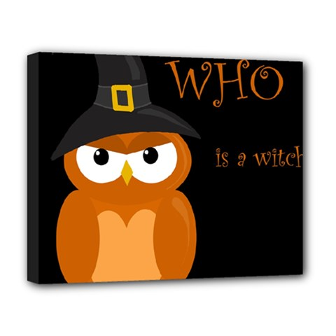 Halloween witch - orange owl Deluxe Canvas 20  x 16