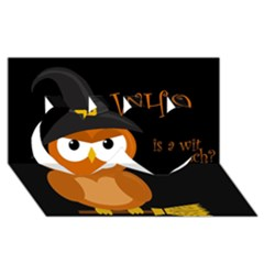 Halloween witch - orange owl Twin Hearts 3D Greeting Card (8x4)