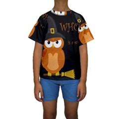 Halloween Witch   Orange Owl Kids  Short Sleeve Swimwear