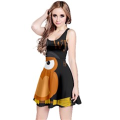 Halloween witch - orange owl Reversible Sleeveless Dress