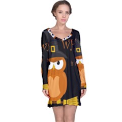 Halloween witch - orange owl Long Sleeve Nightdress