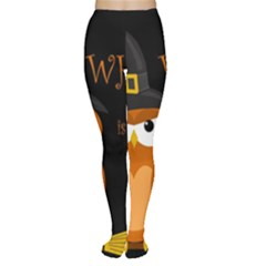 Halloween witch - orange owl Women s Tights