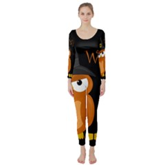 Halloween witch - orange owl Long Sleeve Catsuit