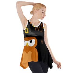 Halloween Witch   Orange Owl Side Drop Tank Tunic