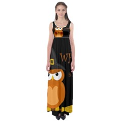 Halloween Witch   Orange Owl Empire Waist Maxi Dress