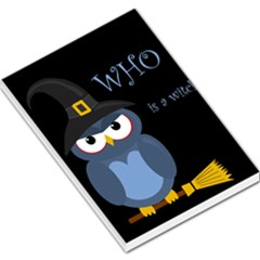 Halloween witch - blue owl Large Memo Pads