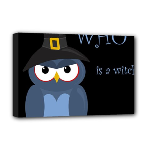 Halloween witch - blue owl Deluxe Canvas 18  x 12