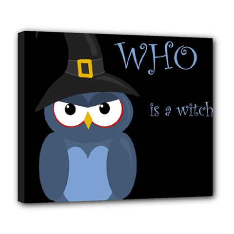 Halloween witch - blue owl Deluxe Canvas 24  x 20