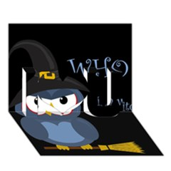 Halloween witch - blue owl I Love You 3D Greeting Card (7x5)