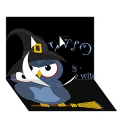 Halloween witch - blue owl Heart 3D Greeting Card (7x5)