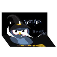 Halloween witch - blue owl Twin Hearts 3D Greeting Card (8x4)