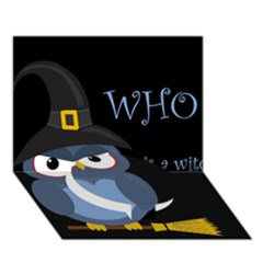 Halloween witch - blue owl Circle Bottom 3D Greeting Card (7x5)