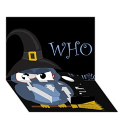 Halloween witch - blue owl LOVE Bottom 3D Greeting Card (7x5)