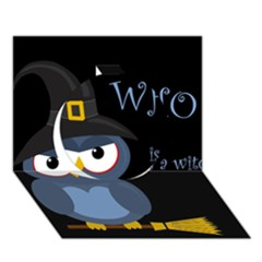 Halloween witch - blue owl Circle 3D Greeting Card (7x5)