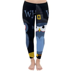 Halloween witch - blue owl Winter Leggings