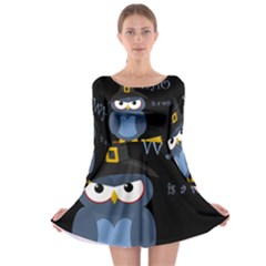 Halloween witch - blue owl Long Sleeve Skater Dress