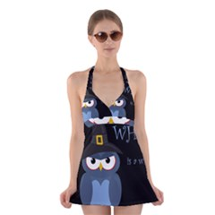 Halloween witch - blue owl Halter Swimsuit Dress