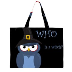 Halloween witch - blue owl Large Tote Bag