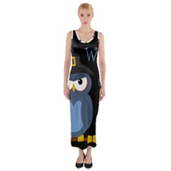 Halloween witch - blue owl Fitted Maxi Dress