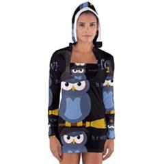 Halloween Witch   Blue Owl Women s Long Sleeve Hooded T Shirt