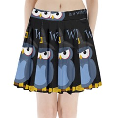 Halloween witch - blue owl Pleated Mini Skirt