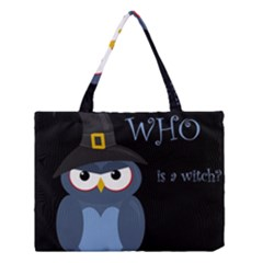 Halloween witch - blue owl Medium Tote Bag