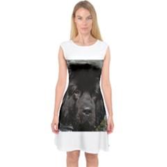 Black Newfie Capsleeve Midi Dress